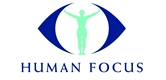 human focus logo with a human silhouette, arms stretched out and the edges of an eye either side of the silhouette.