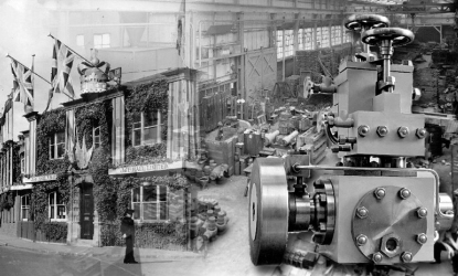 old black and white picture of a building and a piece of machinery to represent J&E Hall's history page.