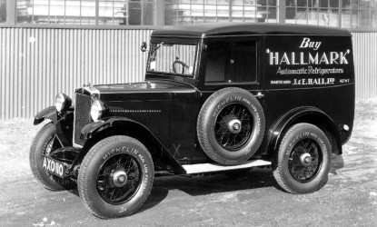 view of an old J&E Hall car in a black and white picture to represent J&E Hall's history page.