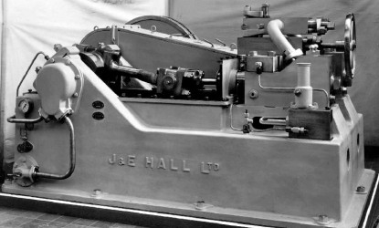 view of a piece of machinery crafted by J&E Hall in a black and white picture to represent J&E Hall's history page.