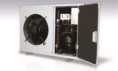 close up of a J&E Hall fusion commercial condensing unit with it's door open showing some of the inside.