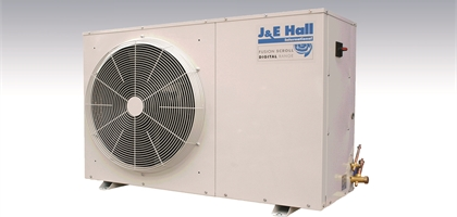 view of J&E Hall fusion scroll digital range condensing unit on a faded background.