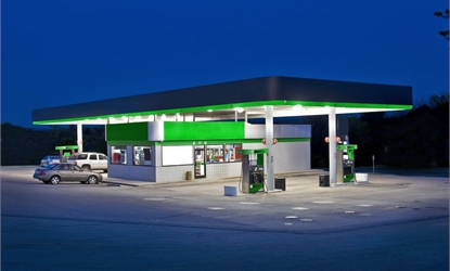 view of a petrol station with J&E Hall digital single scroll commercial condensing units installed.
