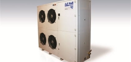view of a J&E Hall digital twin scroll commercial condensing unit on a white background.